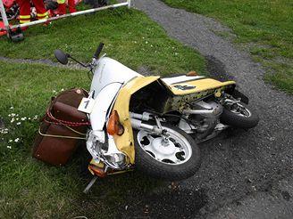 nehoda 77letého motorkáře ve Dvorcích na Bruntálsku