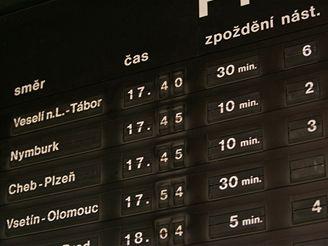Aktuální mapa zpoždění vlaků ČD