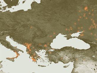 Ohniska požárů, která za poslední tři dny zaznamenal systém ESA