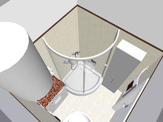 Rekonstrukce koupelny - první varianta se sprchovým koutem