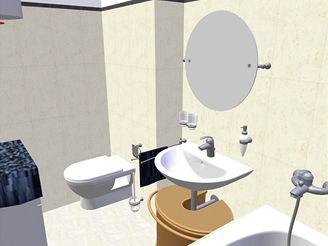 Rekonstrukce koupelny - druhá varianta se společným WC