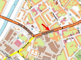 mapa Přerov, Komenského ulice