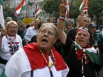 Protest v centru Budapešti
