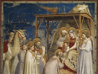 Halleyova kometa v podání Giotta di Bondone
