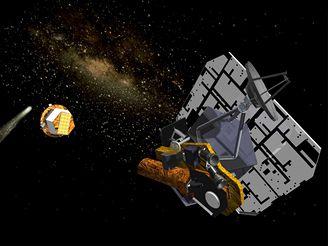 Kresba Deep Impact, impaktor je oddělen