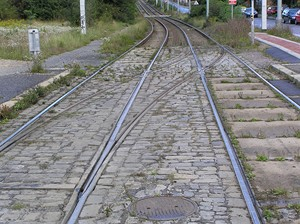 Kolejový přejezd u zastávky Nad Trojou
