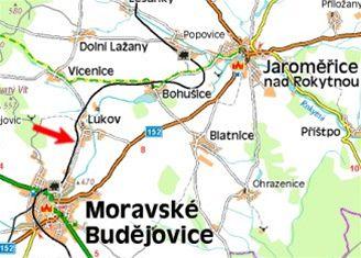 mapa, nehoda na přejezdu u Lukova (21.9.2007)
