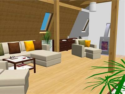 Obývací pokoj v půdním bytě