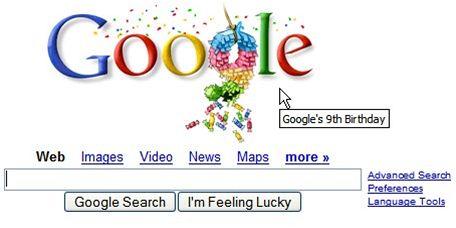 Google deváté narozeniny