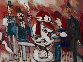 Jaroslav Weigel: Vražda v salonním coupé (malba na skle)