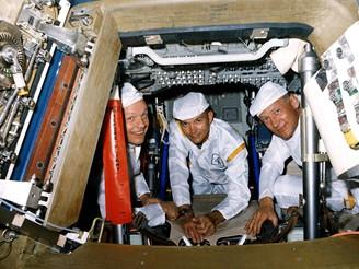 Armstrong, Collins a Aldrin při výcviku