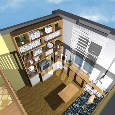 Obývací pokoj s patrem na spaní a knihovnou