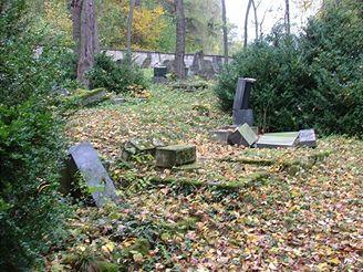 poničený židovský hřbitov v Hroubovicích na Chrudimsku (říjen 2007)