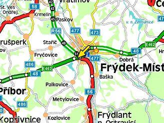 mapa, nehoda u Frýdku-Místku (25.10.2007)