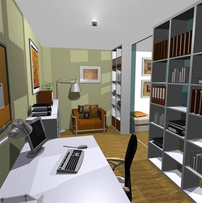 Obývací pokoj s velkou pracovnou
