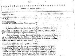 Dokument  o zrušení golfu v Klánovicích 17.7.1952