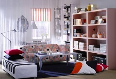 IKEA, knihovna, nábytek, byt