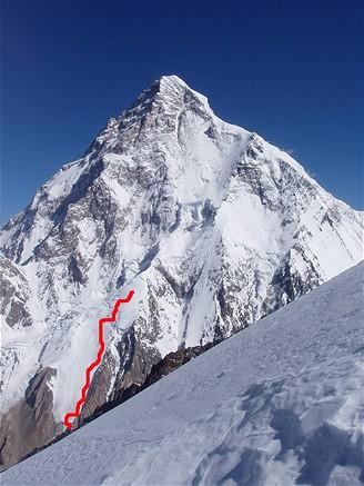 Trasa sjezdu na lyžích z K2