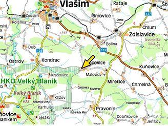 mapa, nehoda Vracovice (15.11.2007)