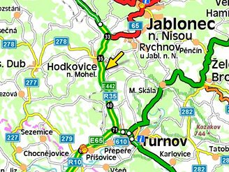 mapa, nehoda R10, (16.11.2007)