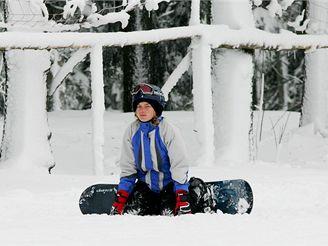 První lyžování v Krkonoších