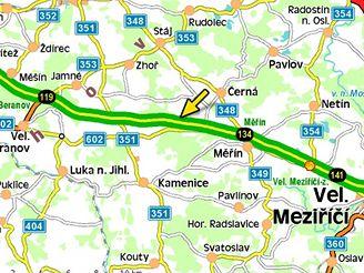 mapa - nehoda na 127. kilometru D1