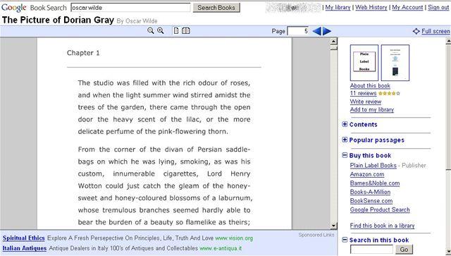 Google Books - Picture of Dorian Gray