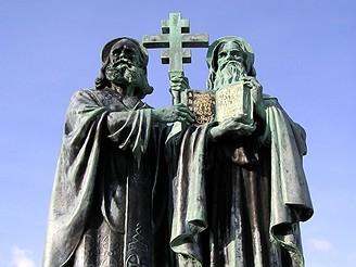 Socha svatého Cyrila a Metoděje na Radhošti