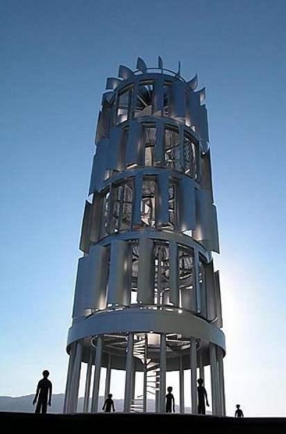 Vyhlídková věž s větrnou turbínou