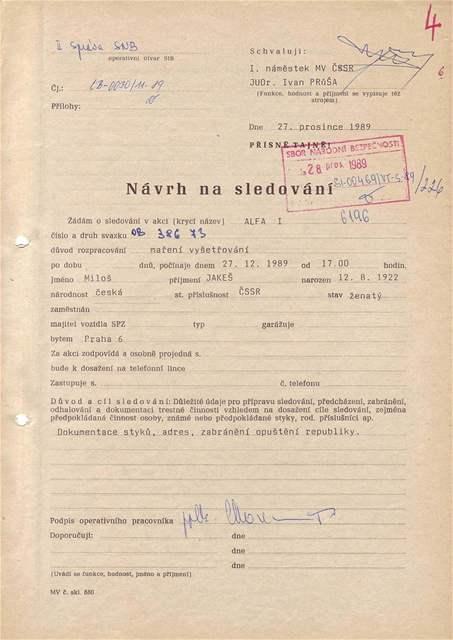Návrh na sledování Miloše Jakeše