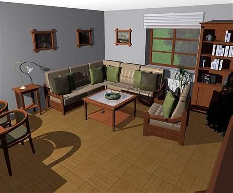 Obývací pokoj s kachlovými kamny a kuchyně v třešni
