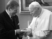 Papež Jan Pavel II. s prezidentem Václavem Havlem