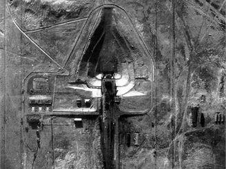 Rampa kosmodromu Bajkonur, z níž startovali první družice a kosmonauti, vyfotografovaná z amerického špionážního letadla U-2
