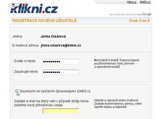 Klikni.cz Registrace nového uživatele