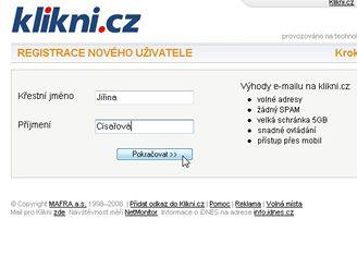 Klikni.cz - Registrace nového uživatele