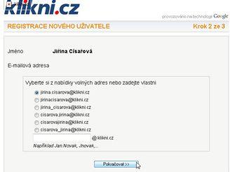 Klikni.cz - Volba přezdívky