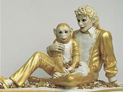 Michael Jackson a Bubbles - socha od Jeffa Koonse