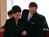 Jana Bobošíková a Jan Švejnar. (15. února 2008)