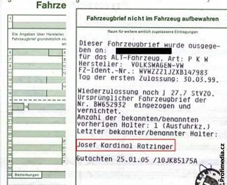 Volkswagen kardinála Ratzingera