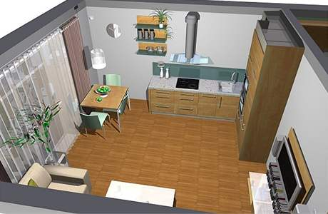 Obývací kuchyně: první varianta
