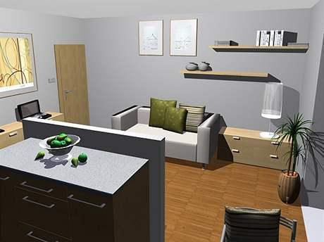 Obývací kuchyně: třetí varianta