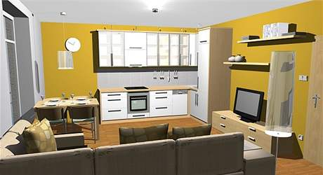 Obývací kuchyně: čtvrtá varianta