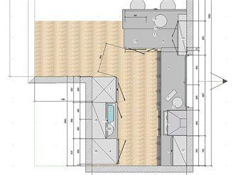 Tři návrhy kuchyňské linky - VARIANTA 1