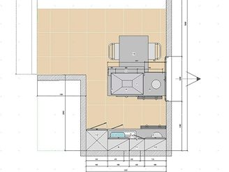 Tři návrhy kuchyňské linky - VARIANTA 3