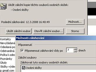 Zálohování osobních složek Outlook