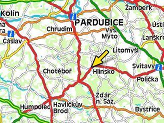 Mapa Hlinsko