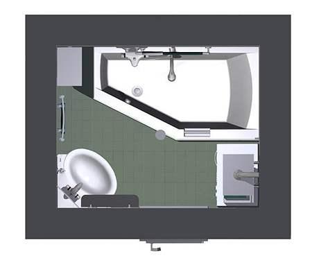 Rekonstrukce malé koupelny - třetí návrh