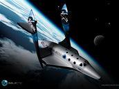 Model cestovního raketoplánu SpaceShipTwo americké společnosti Virgin Galactic