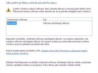Upozornění na program obcházející aktivaci Windows Vista