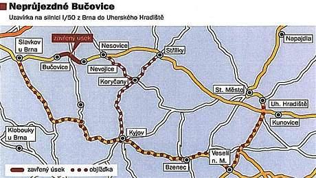 Mapa objížděk kvůli opravě silnice I/50 v Bučovicích